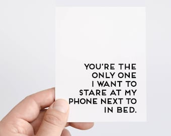 Funny Anniversary Card For Husband   Look At Phone in Bed Card   Anniversary Gifts    iPhone Card