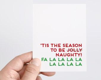 Naughty Christmas Card   Christmas Card For Boyfriend   Husband Holiday Gifts   Fa La La La La