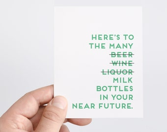 Funny Baby Card   Pregnancy Card   Baby Shower Gift   Baby Bottles   Funny New Baby Card   Unisex Newborn Gift   Funny Card For New Parents