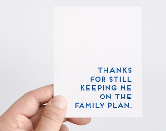 Family Plan   Funny Card For Parents   Funny Mothers Day   Funny Fathers Day   Parent Birthday Card   Funny Thank You Card For Parents