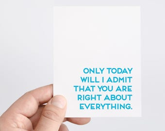 Always Right Card   Funny Gift For Mom    Birthday Card For Mom and Dad   You Were Right   Mother's Day Card