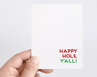 Happy Hols Y'all   Southern Christmas Cards   Holiday Gift Basket   Funny Holiday Cards   Red and Green Christmas Cards