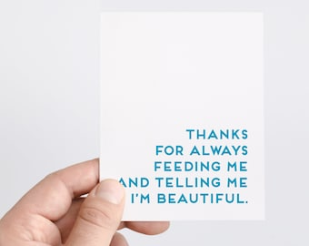 Funny Boyfriend Valentine's Day Card   Feed Me Card   Tell Me I'm Beautiful   Valentines Day Gift For Husband