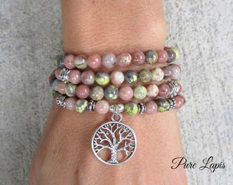 108 Mala beads bracelet, Pink Lepidolite beads mala necklace tree of life Crystal healing meditation gemstone Mala beads prayer beads yoga
