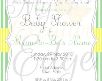 Digital Baby Shower Invitation Set - Stripes and Bunting - Gender Neutral