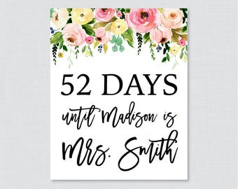 Days Until Mrs Floral Bridal Shower Sign Printable - Pink and Yellow Flowers Days Until Sign, Modern Pink Yellow Garden Bridal 0031-A