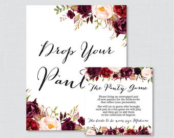 Marsala Panty Game - Printable Rustic Flower Lingerie Shower Panty Game Cards AND Sign - Lingerie Shower or Bachelorette Party Game 0033