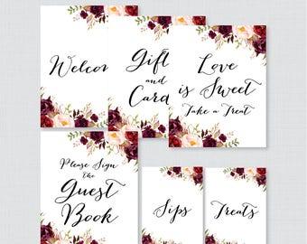 Marsala Floral Bridal Shower Table Signs - Printable Flower Bridal Shower Decorations - Welcome Sign, Favor Sign, Gifts & Cards, etc 0033