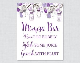 Printable Mason Jar Mimosa Bar Sign - Rustic Bridal Shower Mimosa Bar Sign Printable - Purple Mason Jar Bridal Shower Sign - 0015-R
