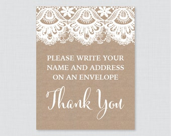 """Burlap and Lace Address an Envelope Sign - Printable Download - Rustic """"Please Write Your Name and Address on an Envelope"""" Sign - 0003"""