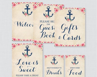 Nautical Bridal Shower Table Signs - Printable Navy Anchor & Pink Flowers Nautical Bridal Decorations - Welcome Sign, Favors Sign, etc 0020