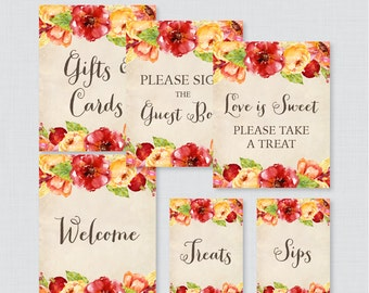 Fall Flower Bridal Shower Table Signs - Printable Rustic Floral Fall Bridal Shower Decorations - Welcome Sign, Favors Sign, etc 0018