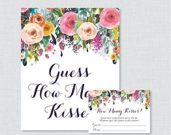 Guess How Many Kisses Bridal Shower Game - Printable Floral Bridal Shower Kisses Guessing Game - Shabby Chic Garden Kisses Guess Game 0002-B