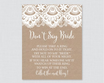 Burlap and Lace Don't Say Bride Printable Sign - Rustic Bridal Shower Don't Say Wedding Sign - Burlap Lace Wedding Shower Game Sign - 0003