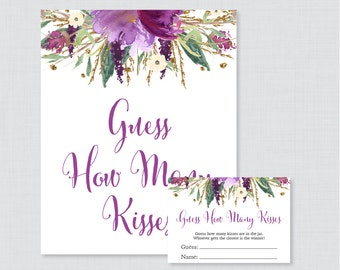 Guess How Many Kisses Bridal Shower Game - Printable Floral Bridal Shower Kisses Guessing Game - Purple and Gold Garden Kisses Guess 0008