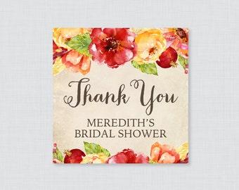 Fall Bridal Shower Favor Tags Printable - Rustic Bridal Shower Favor Tags, Thank You Tags - Autumn Flower Wedding Shower Favor Tags 0018