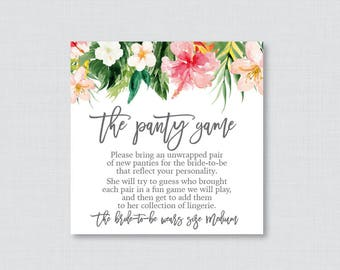Tropical Panty Game - Printable Lingerie Shower Panty Game Cards AND Sign,  Hawaiian Floral Lingerie Shower Game, Bachelorette Party 0032