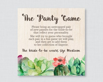 Succulent Panty Game - Printable Rustic Green Cactus Lingerie Shower Panty Game AND Sign - Lingerie Game, Bachelorette Party Game - 0025