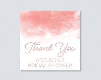 Pink Watercolor Bridal Shower Favor Tags Printable - Pink Bridal Shower Favor Tags, Thank You Tags - Pretty Pink Watercolor Favor Tag 0030-P