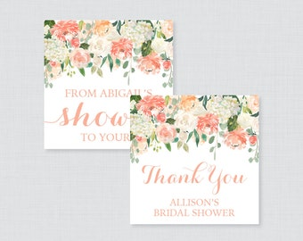 Peach Floral Bridal Shower Favor Tags Printable - Garden Bridal Shower Favor Tags, Thank You Tags - Peach and Cream Flower Favor Tags 0028