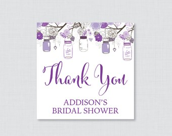 Mason Jar Bridal Shower Favor Tags Printable - Rustic Bridal Shower Favor Tags, Thank You Tags - Purple Mason Jar Bridal Favor Tags 0015-R