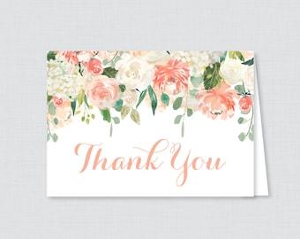 Printable Peach Floral Bridal Shower Thank You Card - Peach and Cream Flowers Garden Bridal Shower Thank You Card - Bridal Shower Thank 0028