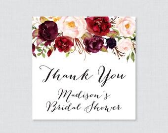 Marsala Floral Bridal Shower Favor Tags Printable - Burgundy Bridal Shower Favor Tags, Thank You Tags - Pink and Wine Flower Favor Tags 0033