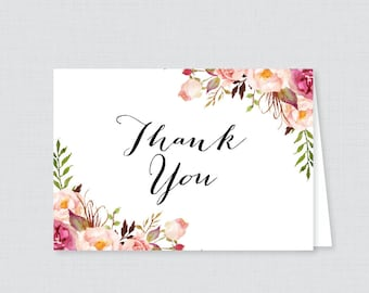 Printable Rustic Bridal Shower Thank You Card - Pink Flowers Bridal Shower Thank You Card - Rustic Pink Floral Bridal Shower Thank 0024