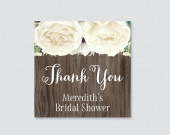 White Floral Bridal Shower Favor Tags Printable - Rustic Bridal Shower Favor Tags, Thank You Tags - White Flowers and Wood Favor Tags 0017