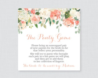 Peach Floral Panty Game - Printable Floral Lingerie Shower Panty Game Cards AND Sign - Lingerie Shower Game, Bachelorette Party Game 0028