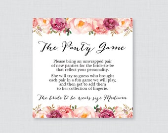 Floral Panty Game - Printable Rustic Pink Flower Lingerie Shower Panty Game Cards AND Sign - Lingerie Shower or Bachelorette Party Game 0024