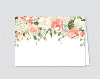 Printable Peach Floral Bridal Shower Food Tent Cards - Garden Bridal Shower Food Labels OR Place Cards - Peach and Cream Flowers Bridal 0028