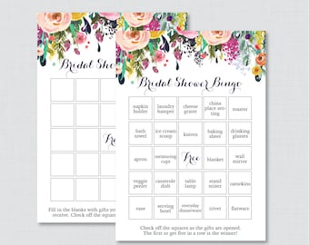 f9d7f477514 Floral Bridal Shower Bingo Printable - 60 Unique Pre-filled Bingo Cards AND Blank  Cards - Flower Garden Bridal Bingo 0002-B