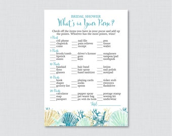 beach themed whats in your purse game printable blue and aqua nautical bridal shower purse game nautical bridal purse raid game 0012 b