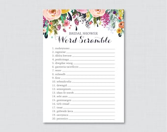 floral bridal shower word scramble printable colorful flower bridal shower game shabby chic garden bridal shower word scramble 0002 b