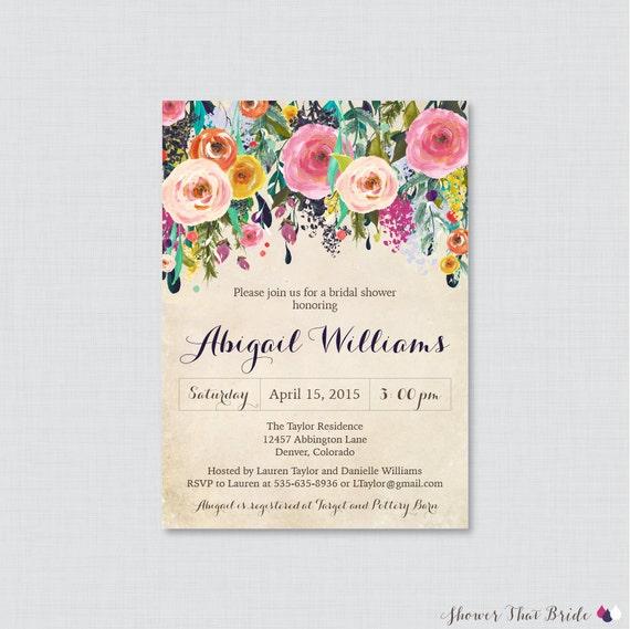 755118b1c50 Bridal Shower Invitation Printable or Printed Floral Bridal