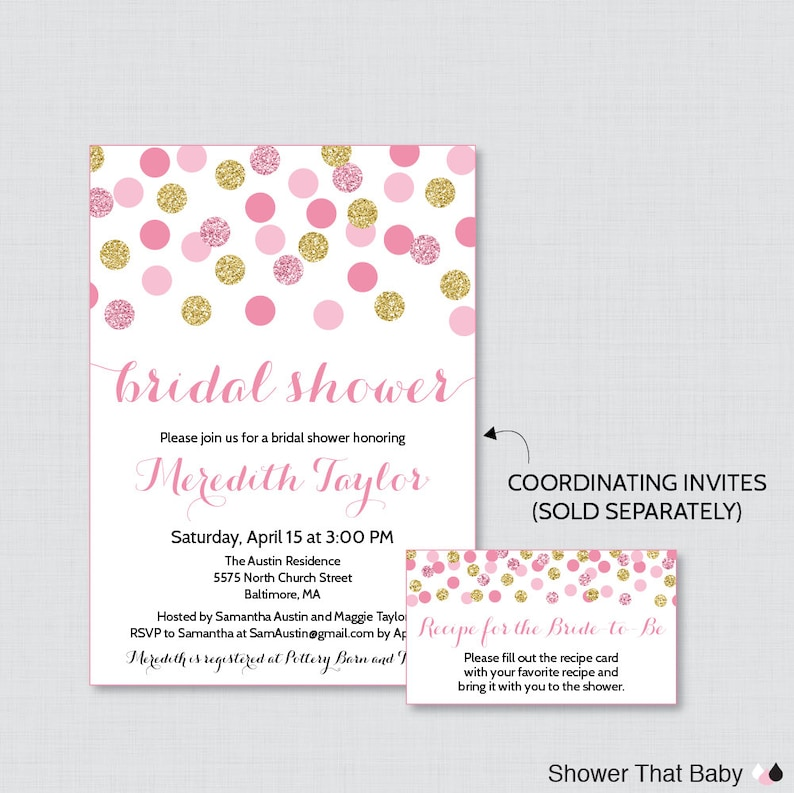Gold Glitter Recipe Cards 0001-P Pink and Gold Recipe Cards Printable Pink and Gold Bridal Shower Recipe Card and Invitation Insert
