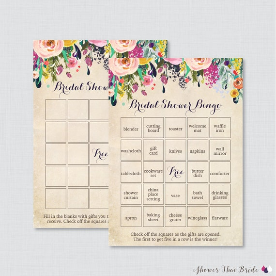 floral bridal shower bingo printable 60 unique pre filled bingo cards and blank cards flower garden