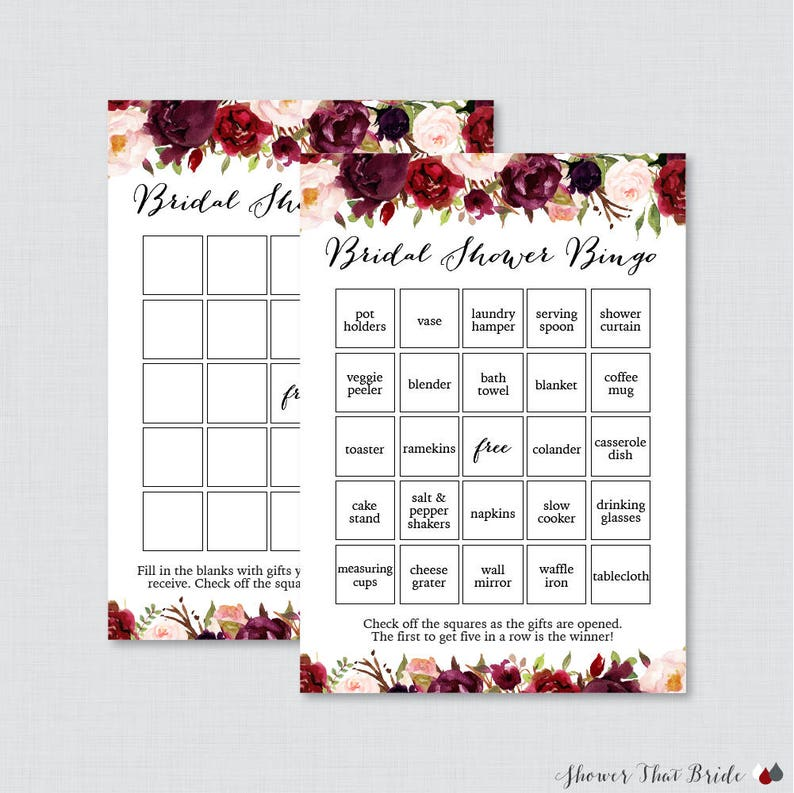8c94e3ba5ae Marsala Floral Bridal Shower Bingo Printable 60 Unique
