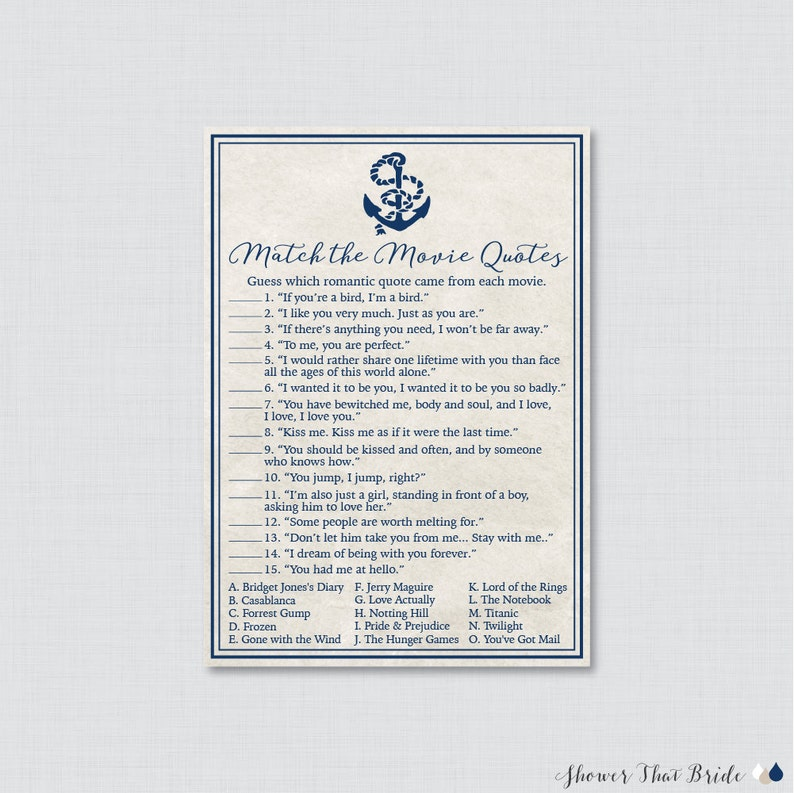 Movie Love Quote Match Game - Printable Nautical Bridal Shower Movie Quote  Game - Navy Anchor Nautical Bridal Shower Game - 0011