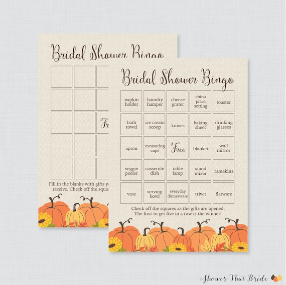 photograph regarding Fall Bingo Printable referred to as Pumpkin Bridal Shower Bingo Printable - 60 Exceptional Pre-crammed Bingo Playing cards AND Blank Playing cards - Rustic Autumn Pumpkin Marriage Shower Bingo 0019