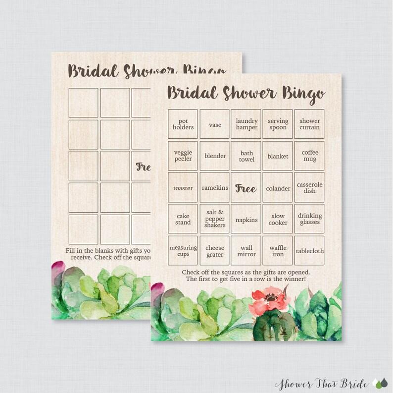 a609032d787f Succulent Bridal Shower Bingo Printable 60 Unique Pre-filled
