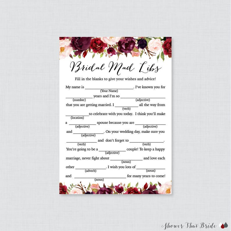 graphic about Bridal Shower Mad Libs Free Printable identify Marsala Floral Bridal Shower Nuts Libs Match - Printable Rustic Flower Bridal Shower Madlibs - Burgundy Bridal Assistance Video game Marriage Shower 0033