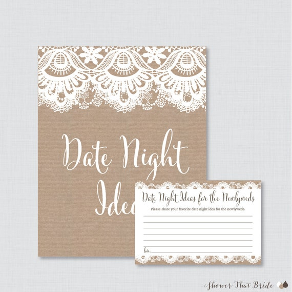 Date Night Ideas Printable Burlap And Lace Bridal Shower Etsy
