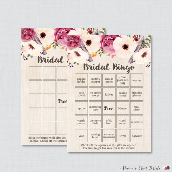 5530adc10c8 Boho Bridal Shower Bingo Printable 60 Unique Pre-filled