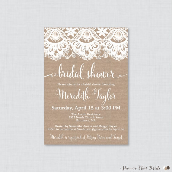 a88da395d48f Bridal Shower Invitation Printable or Printed Burlap and