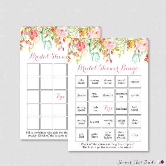 da3e2f700d7 Pink and Gold Floral Bridal Shower Bingo Printable 60 Unique