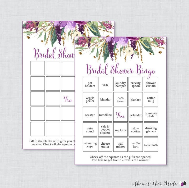 0864e4b5d15 Purple Floral Bridal Shower Bingo Printable 60 Unique