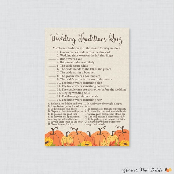 pumpkin wedding traditions quiz printable fall bridal shower game why do we do that quiz autumn