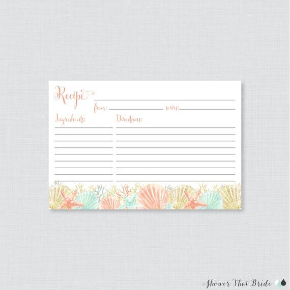 Beach Themed Bridal Shower Recipe Cards - Printable Blue and Aqua Nautical Bridal Shower Recipe Card and Invitation Insert - Recipe 0012-B